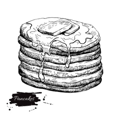 Vintage pancake drawing hand drawn vector