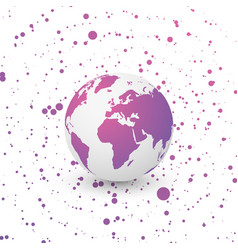 Violet world globe on dotted background vector