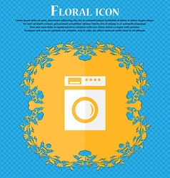 Washing machine icon sign floral flat design on a vector