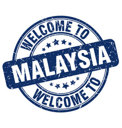 Welcome to malaysia blue round vintage stamp vector