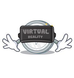 With virtual reality tron coin character cartoon vector