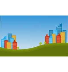 Silhouette of town city landscape vector
