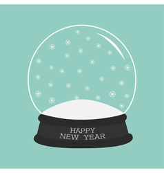 Empty crystal ball with snow Template Happy New vector image