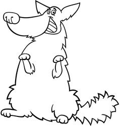 happy shaggy dog cartoon for coloring book vector image
