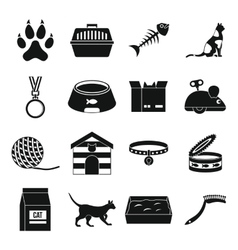 Cat care tools icons set simple style vector image