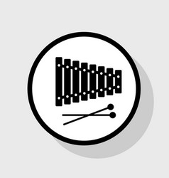 Xylophone sign  flat black icon in white vector