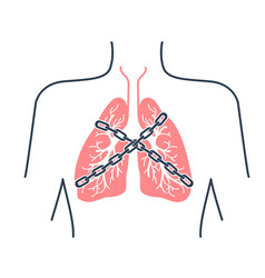 icon asthma chain-bound vector image