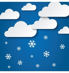 Paper clouds with snowflakes abstract background vector