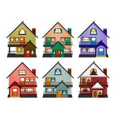 Front view of various modern houses vector