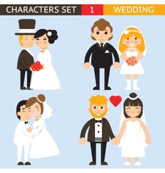 Wedding characters set flat desingn icons vector
