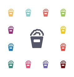 popcorn flat icons set vector image