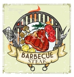 Bbq grill label design - steak vector