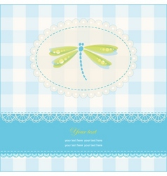 Greeting card with copy space and dragonfly vector