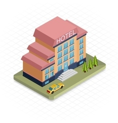 Hotel building isometric 3d pixel design icon vector