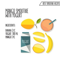 Colorful of mango and banana smoothie recipe vector