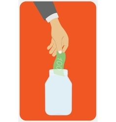Hand throwing a glass jar vector