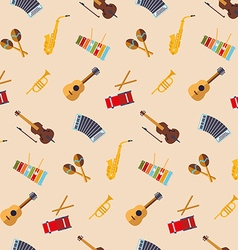 Flat design musical instruments seamless pattern vector