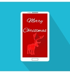 Mobile phone with christmas design interface vector