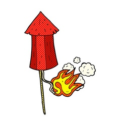 Comic cartoon old firework rocket vector