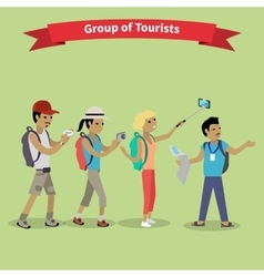 Tourists people group flat style vector