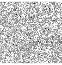 Black and white floral seamless pattern vector