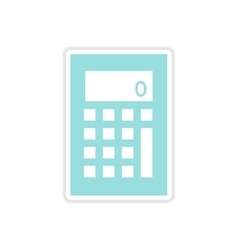 Paper sticker on white background calculator vector