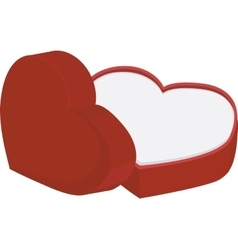 Red heart shape box with cap isolated on white vector