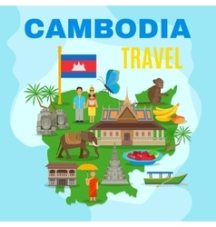 Cambodia cultural travel map flat poster vector