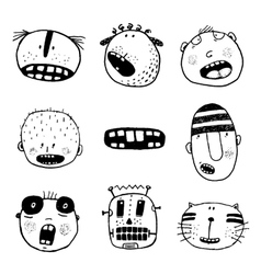 Doodle Heads and Outline Cartoon Monster Face vector image