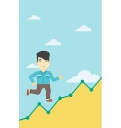 Businessman running upstairs vector