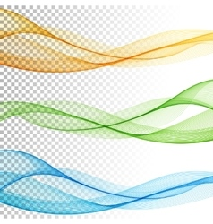 Abstract smooth color wave set on vector image vector image