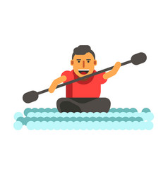 athletic man swims on black single-seat kayak vector image