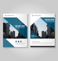 Blue annual report leaflet brochure flyer set vector