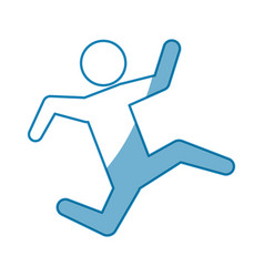 blue line pictogram man silhouette running concept vector image