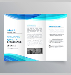 blue wave trifold brochure template for your vector image