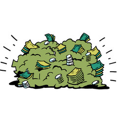 cartoon of a big pile of money banknotes vector image