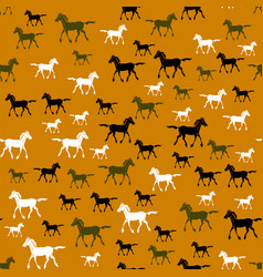 colored running horse seamless pattern vector image