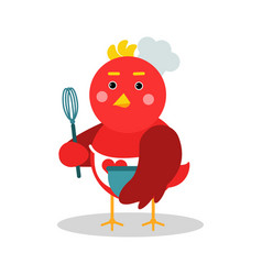 Cute cartoon chief bird character in geometric vector