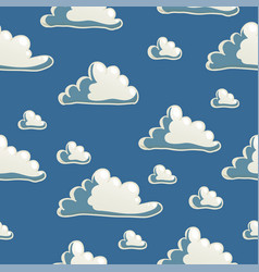 Cute seamless blue pattern with cartoon clouds vector