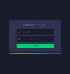 Dark member login form design template vector