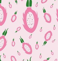 Dragon fruit pattern pink background vector image vector image