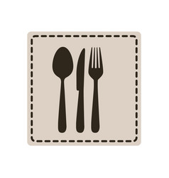 Emblem metal cutlery icon vector