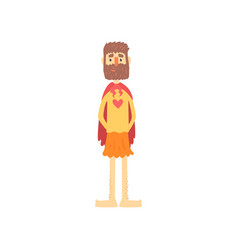 Freak bearded man character in funny superhero vector