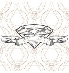 Hand drawn diamond and ribbon outline for tattoos vector