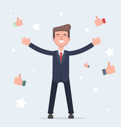 Happy and proud businessman with many thumbs up vector