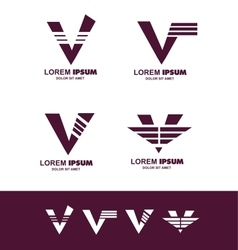 Letter v alphabet logo icon vector
