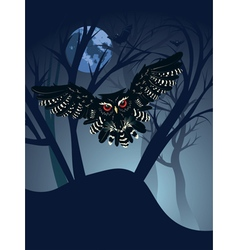 Owl in the night forest5 vector
