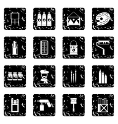 Painting set icons grunge style vector