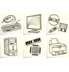 Pc components and peripheral devices sketches on y vector image