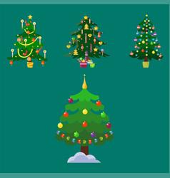 pine tree cartoon green winter holiday vector image vector image